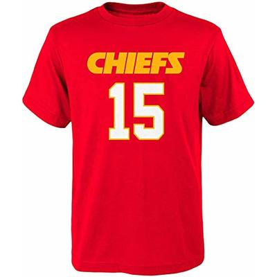 NFL Kids Youth Team Color Alternate Mainliner Name and Number Player T-Shirt (7, Patrick Mahomes Kansas City Chiefs Home Red)