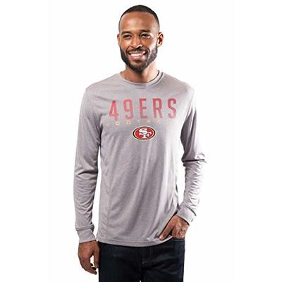 NFL Ultra Game San Francisco 49ers Long Sleeve Crew Neck Tee Shirt, Large, Heather Gray