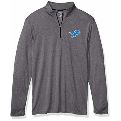 Ultra Game Mens NFL Moisture Wicking Soft Quarter Zip Long Sleeve Tee Shirt, Detroit Lions, Heather Gray, Small