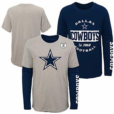 Dallas Cowboys NFL Goal Line Stated Youth 3-In-1 T-Shirt, Navy/Gray, Large