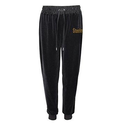 Outerstuff NFL Pittsburgh Steelers Juniors Glitzy Kicker Velour Banded Pant Black, Large(11-13)