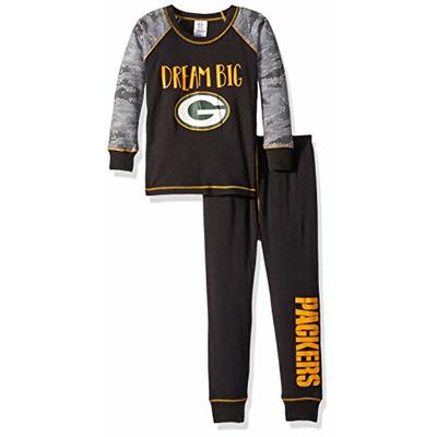 NFL Green Bay Packers Unisex 2-Piece Pajama Set, Black, 4T