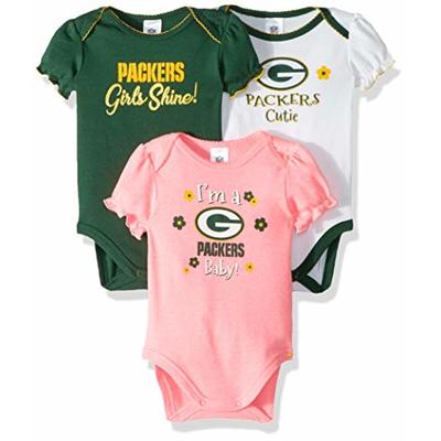 NFL Green Bay Packers Baby-Girl 3 Pack Bodysuit, Team Color, 3-6 Months