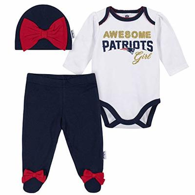 NFL New England Patriots 3 Pack Bodysuit Footed Pant and Cap Registry Gift Set, blue/white New England Patriots, 3-6M