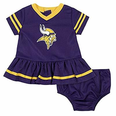 NFL Minnesota Vikings Girls DRESS AND DIAPER COVER, Team Color, 3-6M