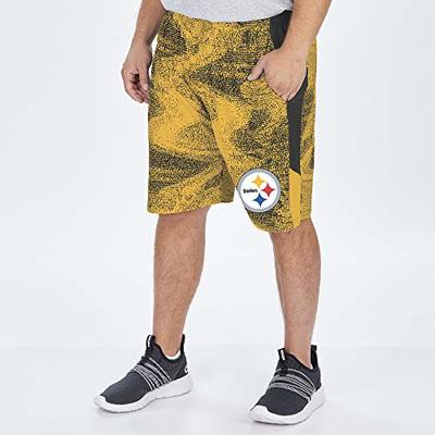 Zubaz NFL Pittsburgh Steelers Men's Static Short with Solid Side Panels, Black/Gold, Medium