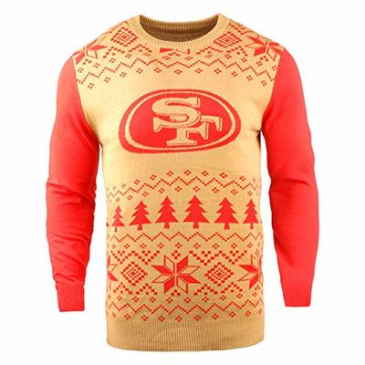 NFL San Francisco 49Ers Two-Tone Cotton Ugly Sweatertwo-Tone Cotton Ugly Sweater, Red, Large