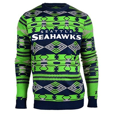 Klew NFL Football 2015 Aztec Ugly Crew Neck Holiday Sweater – Pick Team (Seattle Seahawks, Large)