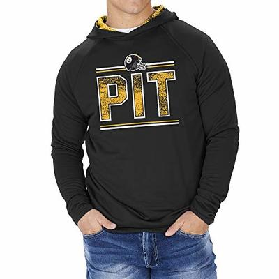 Zubaz NFL Pittsburgh Steelers Men's French Terry Lightweight Hoodie with Static Hoodie Liner, Solid Black, XX-Large