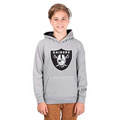 Ultra Game NFL Las Vegas Raiders Youth Extra Soft Poly Dry Fleece Pullover , Heather Gray, 14/16