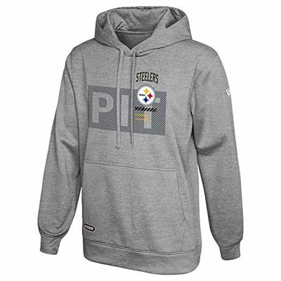 New Era NFL Men's Drill Performance Heather Grey Pullover Hoodie, Pittsburgh Steelers Large