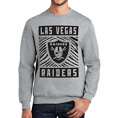 NFL Las Vegas Raiders Unisex Athletic Crew Neck Sweatshirt with Single Color Zebra Graphic, Heather Gray, X-Large