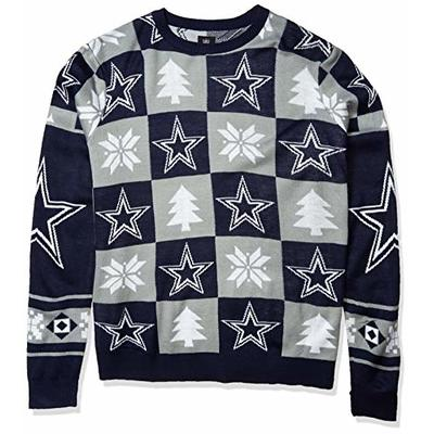 FOCO NFL Dallas Cowboys Men's (2016 Edition) Patches Ugly Crew Neck Sweater, XX-Large, Team Color