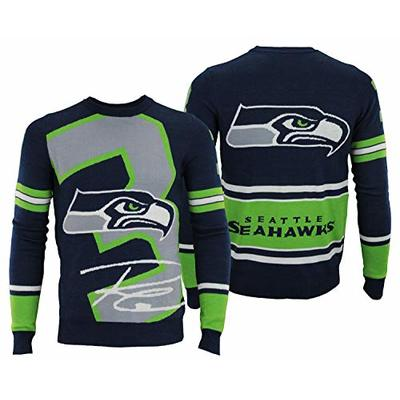 Forever Collectibles NFL Mens Loud Player Sweater (Seattle Seahawks R Wilson #3, Large)