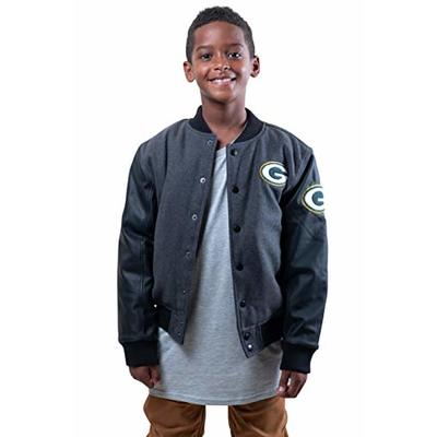 Ultra Game NFL Green Bay Packers Youth Classic University Varsity Jacket, Charcoal Heather, 10/12