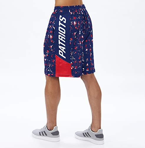 NFL New England Patriots Men's Team Color Grid Shorts, Navy/Red, X-Large