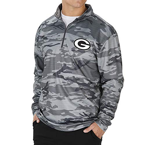 Zubaz NFL Green Bay Packers Men's Lines Poly Fleece 1/4 Zip Jacket, Gray, Large