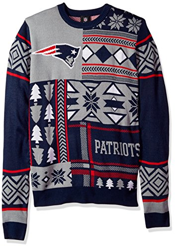 NFL NEW ENGLAND PATRIOTS PATCHES Ugly Sweater, Medium