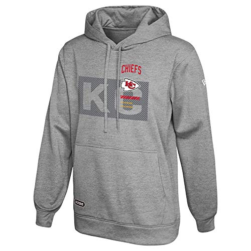 New Era NFL Men's Drill Performance Heather Grey Pullover Hoodie, Kansas City Chiefs Large