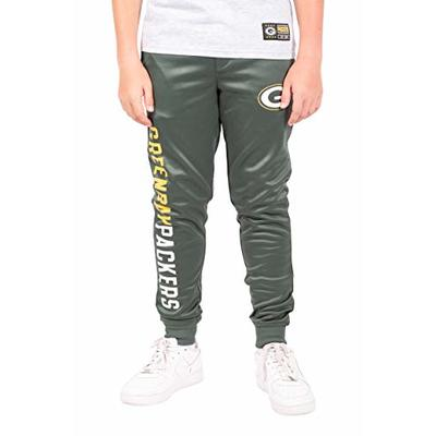 Ultra Game NFL Green Bay Packers Youth High Performance Moisture Wicking Fleece Jogger Sweatpants, Team Color, 14/16