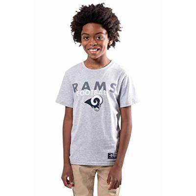 Ultra Game NFL Los Angeles Rams Youth Active Crew Neck Tee Shirt, Heather Gray, 14/16