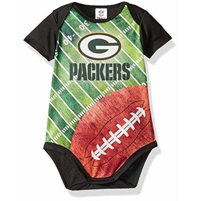 NFL Green Bay Packers Unisex-Baby Short-Sleeve Bodysuit, Black, 6 Months