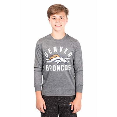 Ultra Game NFL Denver Broncos Youth Super Soft Crew Neck Long Sleeve T-Shirt, Heather Gray Charcoal, 16/18