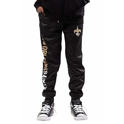 Ultra Game NFL New Orleans Saints Youth High Performance Moisture Wicking Fleece Jogger Sweatpants, Team Color, Medium