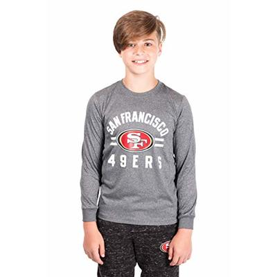 Ultra Game NFL San Francisco 49ers Youth Super Soft Crew Neck Long Sleeve T-Shirt, Heather Gray Charcoal, 16/18