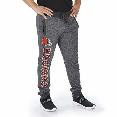 Zubaz Officially Licensed NFL Cleveland Browns Dark Heather Gray Marled French Terry Jogger Large