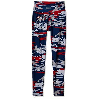 Zubaz Officially Licensed NFL Women's Camo Leggings, Navy/Red, New England Patriots