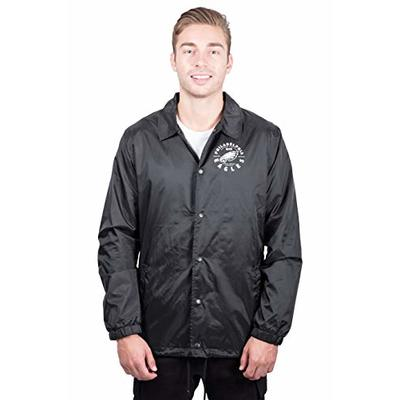 Ultra Game NFL Philadelphia Eagles Mens Nylon Waterproof Windproof Coach's Jacket, Team Color, Large