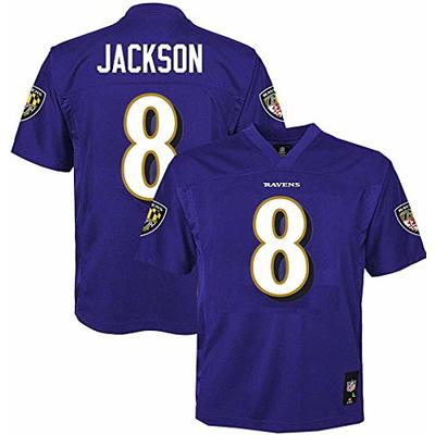 Outerstuff Lamar Jackson Baltimore Ravens NFL Boys Youth 8-20 Purple Home Mid-Tier Jersey (Youth Large 14-16)