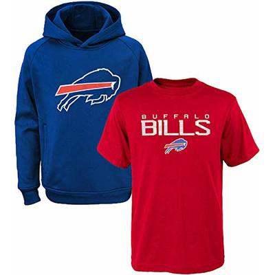 NFL Youth 8-20 Polyester Performance Primary Logo Hoodie & T-Shirt 2 Pack Set (Medium 10/12, Buffalo Bills)