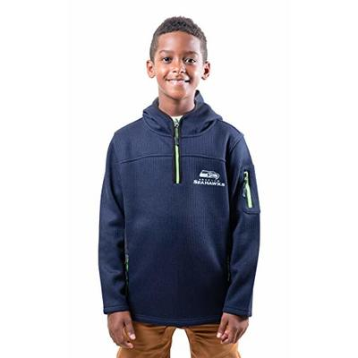 Ultra Game NFL Seattle Seahawks Youth Extra Soft Fleece Quarter Zip Pullover Hoodie Sweartshirt, Team Color, Large