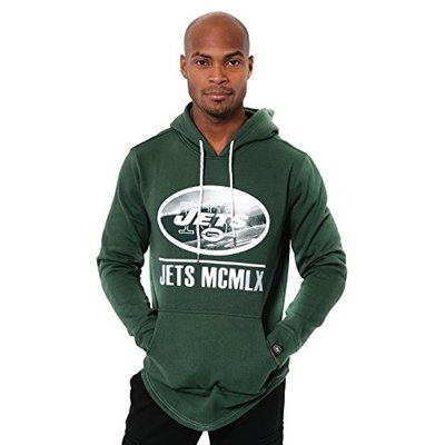 Ultra Game NFL New York Jets Mens Embroidered Fleece Hoodie Pullover Sweatshirt, Team Color, Medium