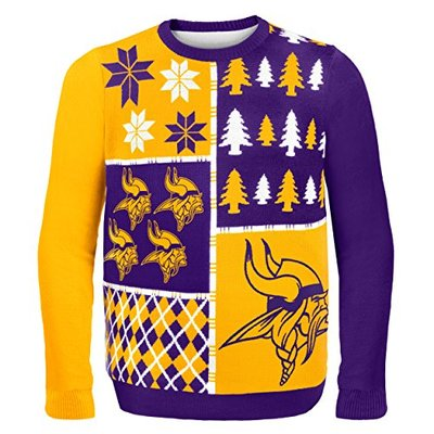 NFL Minnesota Vikings BUSY BLOCK Ugly Sweater, Large