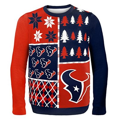 NFL Houston Texans BUSY BLOCK Ugly Sweater, Large