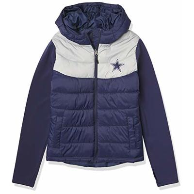 NFL Dallas Cowboys Womens Switch Hitter Mixed Media Jacket, Navy/Gray, XX-Large