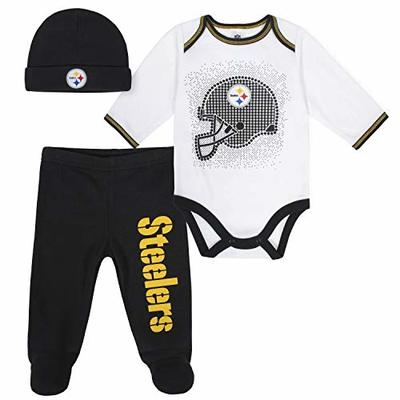 NFL Pittsburgh Steelers 3 Pack Bodysuit Footed Pant and Cap Registry Gift Set, Black/White Pittsburgh Steelers, 0-3M