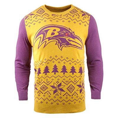 NFL Baltimore Ravens Two-Tone Cotton Ugly Sweatertwo-Tone Cotton Ugly Sweater, Yellow, Large