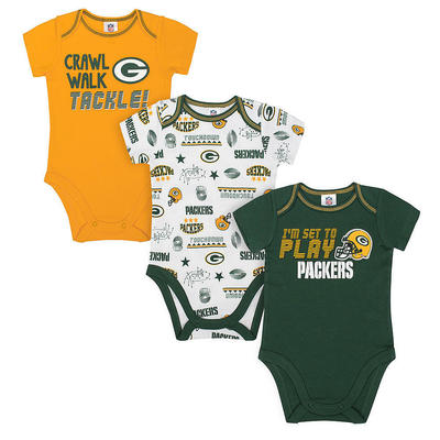 Green Bay Packers NFL Infant Boys' 3-Pack Short-Sleeve Bodysuits 3-6 Months NWT