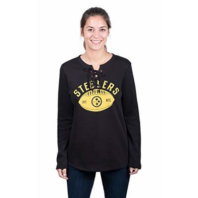 Ultra Game NFL Pittsburgh Steelers Womenss Fleece Long Sleeve Lace -Up Sweatshirt, Team Color, Large