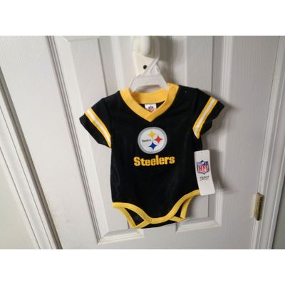 NFL TEAM APPAREL ROMPER CREEPER PITTSBURGH STEELERS BABY JERSEY 00 SIZE 0-3 M