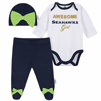 NFL Seattle Seahawks 3 Pack Bodysuit Footed Pant and Cap Registry Gift Set, blue/white Seattle Seahawks, 0-3M
