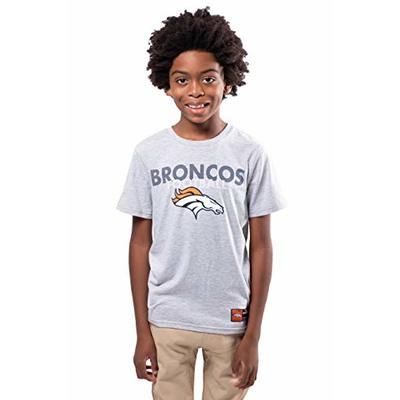 Ultra Game NFL Denver Broncos Youth Active Crew Neck Tee Shirt, Heather Gray, 18/20